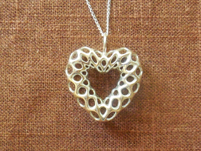 Mesh Heart Pendant in Precious Metal in Polished Silver