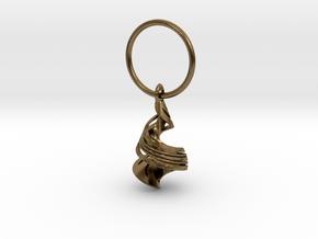 Orange Peel Hanging In Space in Natural Bronze (Interlocking Parts): Medium