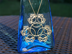 Fractal Blossom Pendant in Natural Brass