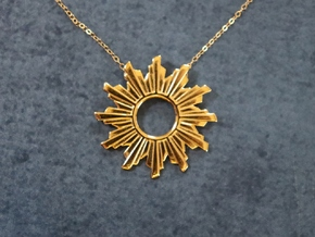 Sun Flare Necklace in 18k Gold Plated Brass