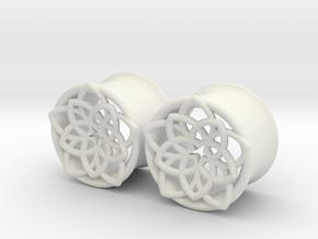 "Star Flower 5/8"" ear plugs 16mm in White Natural Versatile Plastic"