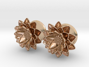 "Lotus flower 5/8"" ear plugs 16mm in 14k Rose Gold Plated Brass"