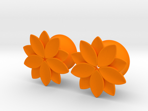 "Flower - 10 petals - 5/8"" ear plugs 16mm in Orange Processed Versatile Plastic"