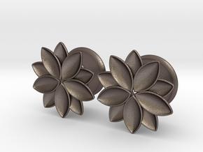 """Flower - 10 petals - 5/8"""" ear plugs 16mm in Polished Bronzed Silver Steel"""