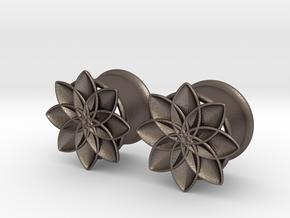 "5/8"" ear plugs 16mm - Flowers - 8 petals in Polished Bronzed Silver Steel"