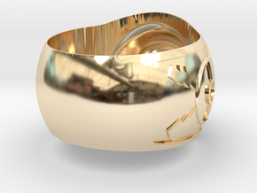 Pokeball ring 26mm in 14k Gold Plated Brass