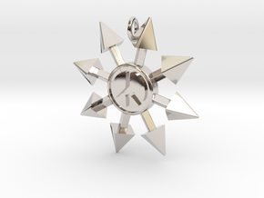 Chaos Star with Peace symbol in Rhodium Plated Brass