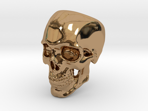 Human Skull Ring size 12 in Polished Brass