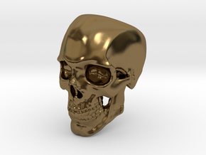Human Skull Ring size 12 in Polished Bronze