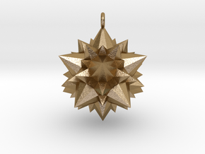 Great Rhombicosidodecahedron 3,7cm in Polished Gold Steel