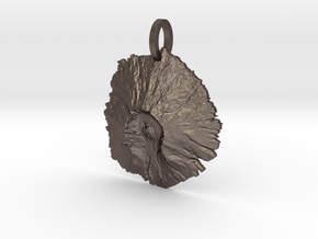 Mount St. Helens Map Pendant - Medium in Polished Bronzed Silver Steel