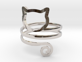 Cat Wrap Ring in Rhodium Plated Brass: 7 / 54