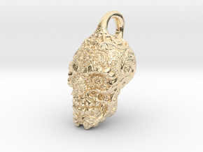 Mayan skull pendant in 14K Yellow Gold