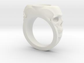 Skull Signet Ring blank size 12 in White Natural Versatile Plastic