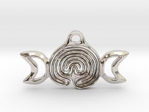 Labyrinth Moon Goddess Pendant in Rhodium Plated Brass