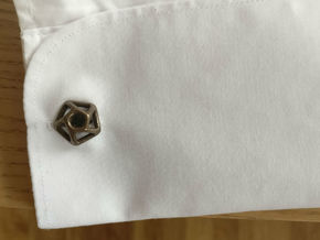 Pentagonal Cufflink Twisted in Polished Bronze Steel