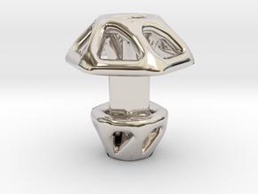 Hexagonal Cufflink Twisted in Rhodium Plated Brass