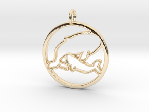Nursing Baby Whale with Mama; pendant in 14k Gold Plated Brass
