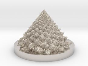 Romanesco fractal Bloom zoetrope in Rhodium Plated Brass: Medium