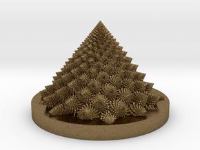 Romanesco fractal Bloom zoetrope (backwards) in Natural Bronze: Medium