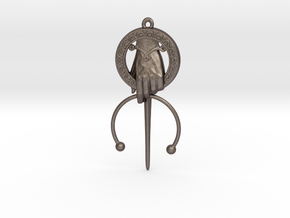 King Hand Pendant in Polished Bronzed Silver Steel