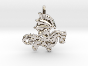 Celtic Dragon Pendant in Rhodium Plated Brass