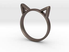 Cat Ears Ring in Polished Bronzed Silver Steel