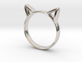 Cat Ears Ring in Rhodium Plated Brass