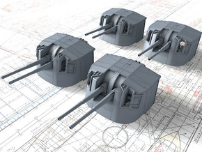 """1/144 Tribal Class 4.7"""" MKXII CPXIX Twin Mounts x4 in Smooth Fine Detail Plastic"""