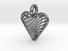 Swirling Heart Pendant in Polished Silver