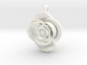 Large Rose  in White Processed Versatile Plastic