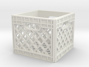 1:10 Scale Milk Crate in White Natural Versatile Plastic