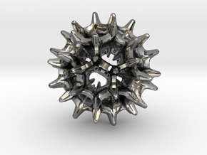 Virus I 16mm in Fine Detail Polished Silver