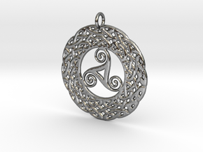 Triskelion Knot work Pendant in Polished Silver