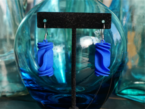 Cubic Rotini Earrings in Blue Processed Versatile Plastic