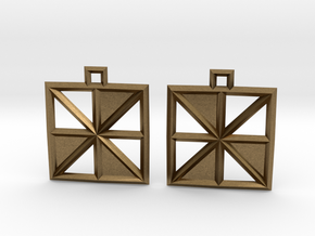 Square Alcove Earrings in Natural Bronze