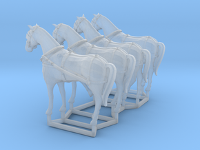 4 pack HO scale horses with harnesses in Smooth Fine Detail Plastic