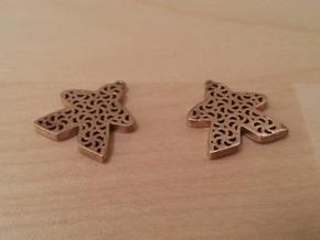 Filigree Meeple Earrings in Natural Bronze