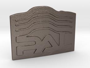 Custom Logo Buckle in Polished Bronzed Silver Steel