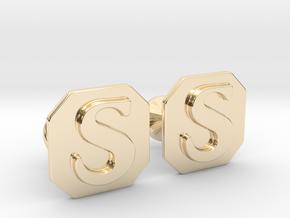 Monogram Cufflinks S in 14K Yellow Gold