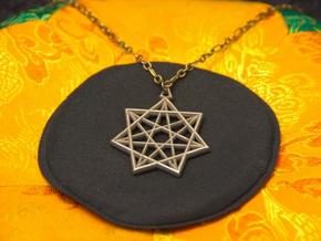 Double Heptagram Pendant in Polished Bronzed Silver Steel