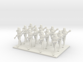 1/48 12 X Trooper Marching  in White Natural Versatile Plastic