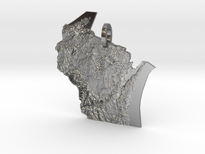 Wisconsin Landforms Map Pendant in Polished Silver