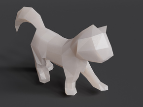 Polygon Kitten Sculpture in White Natural Versatile Plastic