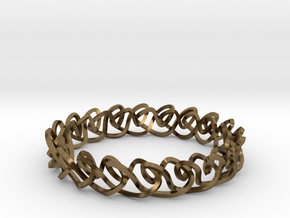 Chain stitch knot bracelet (Square) in Natural Bronze: Extra Small