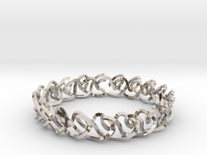 Chain stitch knot bracelet (Square) in Platinum: Extra Small