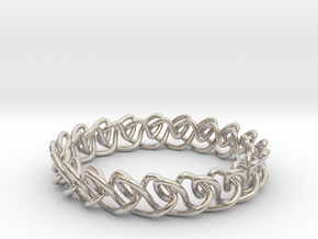 Chain stitch knot bracelet (Circle) in Rhodium Plated Brass: Extra Small