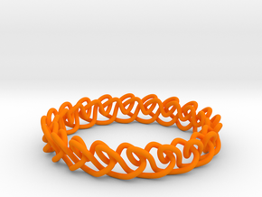 Chain stitch knot bracelet (Circle) in Orange Processed Versatile Plastic: Medium
