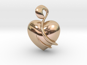 Heart Amulet Abstract in 14k Rose Gold Plated Brass