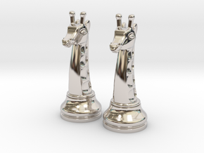 Pair Chess Giraffe Big / Timur Giraffe Zarafah in Platinum